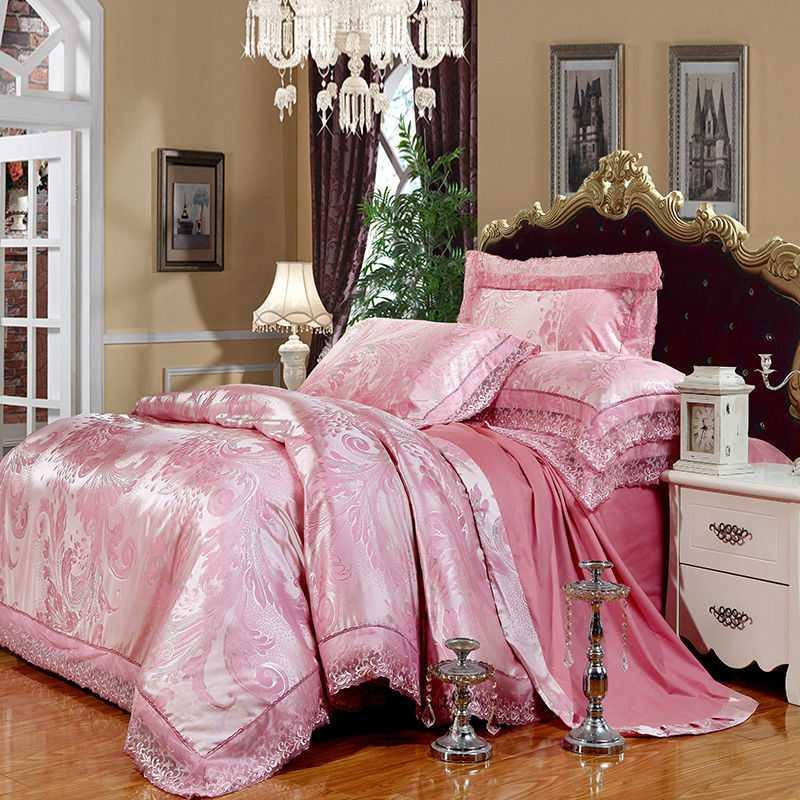 Элегантные-перья-цветы-печати-светло-розовый-постельное-белье-4-6-шт-хлопок-шелк-жаккард-Королева-Двуспальная