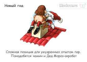 Сумасшедшая камасутра - Новый год - Сложная позиция для умудренных опытом пар. Понадобятся: камин и Дед Мороз-акробат