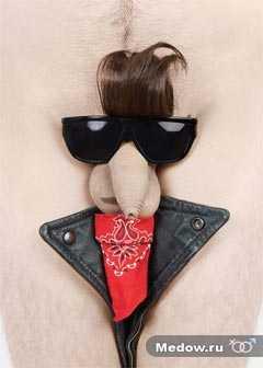 Смешная мужская интимная прическа для члена - Элвис. Фото прикол 1