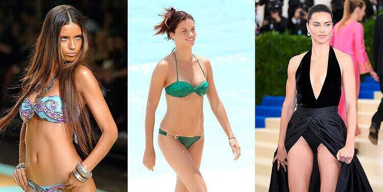 Адриана Лима до увеличения груди