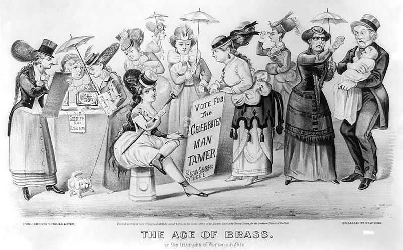Триумф Женских прав - напечатанная Currier and Ives (152 Nassau St., New York).