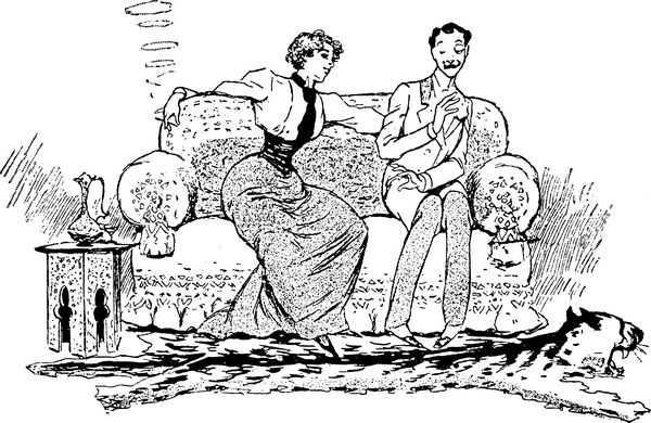 Карикатура о смене ролей C. E. Jensen Новая женщина. Девушка с сигаретой и застенчивый юноша.