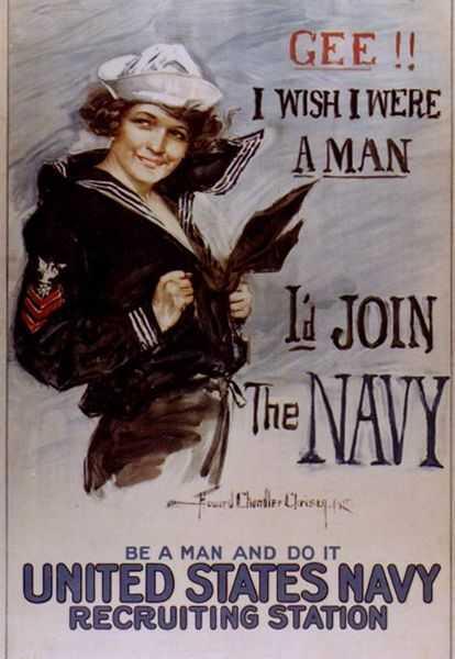 Я хочу быть мужчиной. Агитационный плакат Военно-морского флота 1917 г (США).