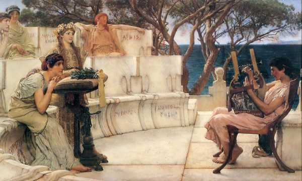 Альма-Тадема Лоуренс - Сафо и Алкей (Lawrence Alma Tadema - Sappho and Alcaeus)